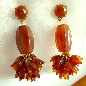 """JCrew Poppy Drop Earrings- 2 3/4"""" Long, chestnut"""